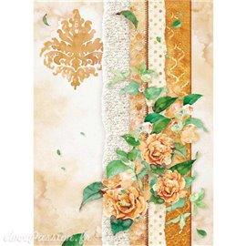 Papier de riz Stamperia 21x29,7cm papier déchiré & fleur orange