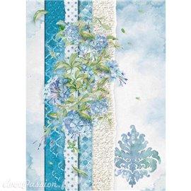 Papier de riz Stamperia 21x29,7cm papier déchiré & fleur bleu