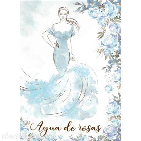 Papier de riz Stamperia 21x29,7cm haute couture bleue
