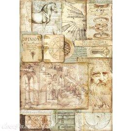 Papier de riz Stamperia 42x30cm Leonard de Vinci II