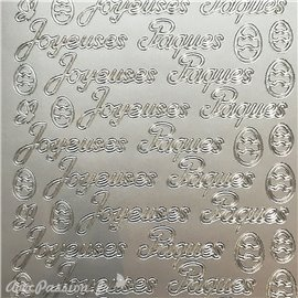 Sticker peel off adhésif texte joyeuses pâques argent