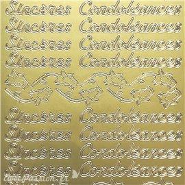 Sticker peel off adhésif texte sincères condoléances doré