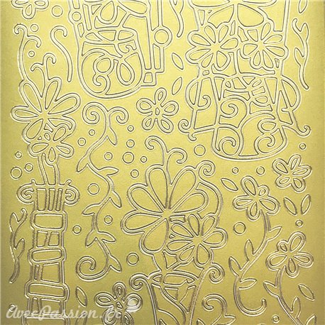 Sticker peel off adhésif fleurs sur vase doré