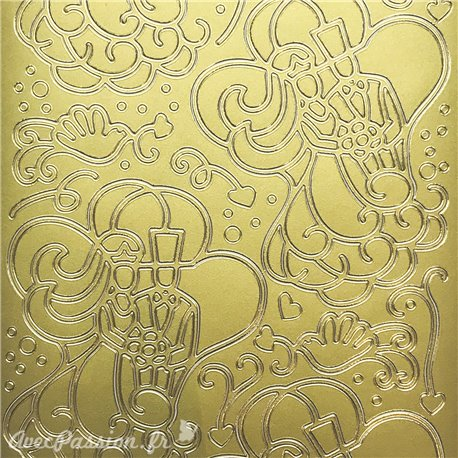 Sticker peel off adhésif arabesque mariage doré