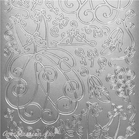 Sticker peel off adhésif arabesque robe argent