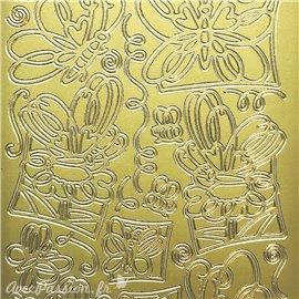Sticker peel off adhésif griffonnage papillon doré