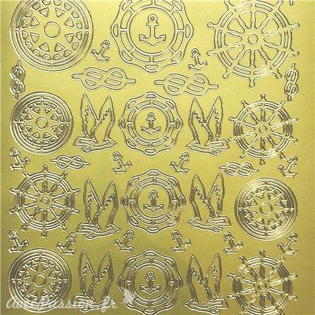 Sticker peel off adhésif compas gouvernail doré