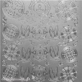 Sticker peel off adhésif boussole remuer argent