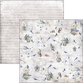 Papier scrapbooking réversible Ciao Bella blue jay 30x30