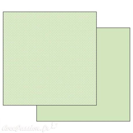 Papier scrapbooking réversible Stamperia pois vert 30x30