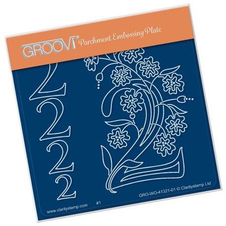 Groovi gabarit traçage parchemin chiffre 2 barbara's number flower
