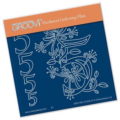 Groovi gabarit traçage parchemin chiffre 5 barbara's number flower