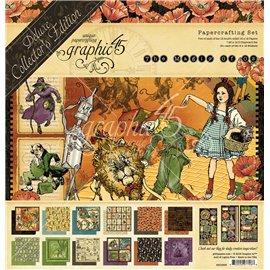 Papier scrapbooking assortiment Graphic 45 magicien d'oz nouveau recto verso 30x30 24fe