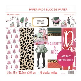 Papier scrapbooking assortiment miss noel recto verso 30x30 48fe