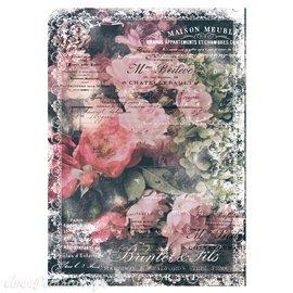 Papier de murier mulberry imprimé Redesign 50x70cm Celeste