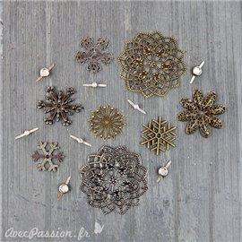 Embellissements métal mechanicals vintage snowflakes fleur de noël