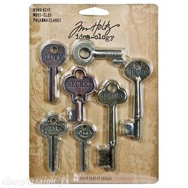 Embellissements métal Tim Holtz Word Keys 7pcs