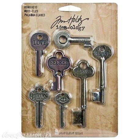Embellissements métal Tim Holtz Word Keys 7pcs