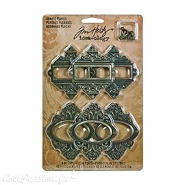 Embellissements métal Tim Holtz Ornate Plates 6pcs