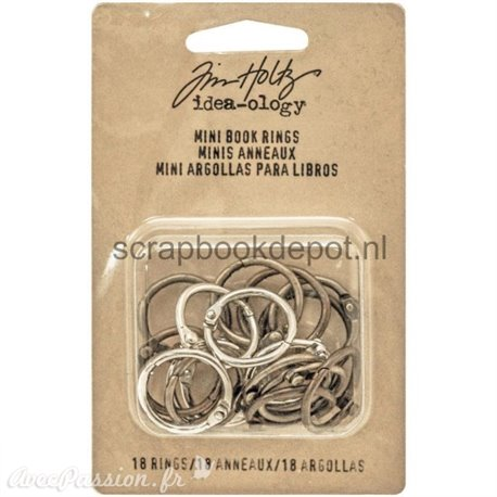 Embellissements métal Tim Holtz Mini Book Rings 18pcs