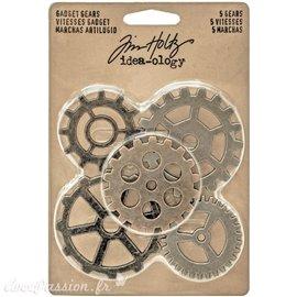 Embellissements métal Tim Holtz Gadget Gears 5pcs