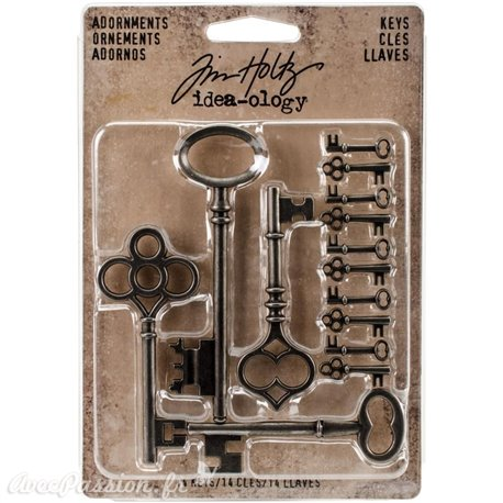 Embellissements métal Tim Holtz Adornments Keys 14pcs