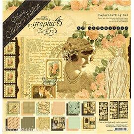 Papier scrapbooking assortiment Graphic 45 Le Romantique recto verso 30x30 24fe