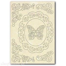 Embellissements en bois silhouettes entaillées ornements et papillons