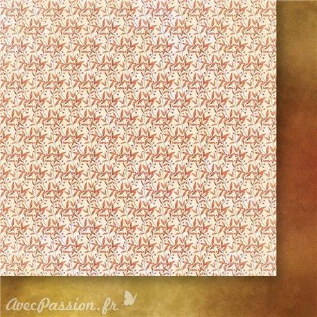 Papier scrapbooking  1 face décor 1 face uni gris