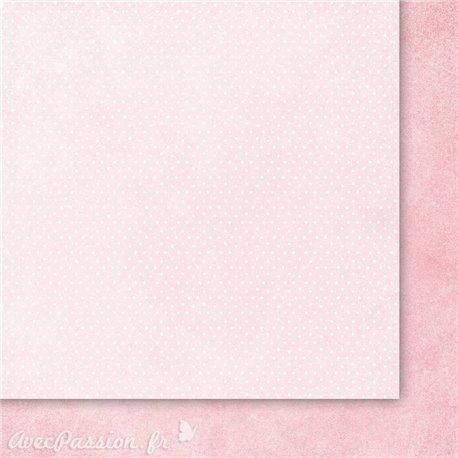 Papier scrapbooking  2 face faux uni rose