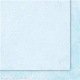Papier scrapbooking  1 face pois 1 face faux uni bleu Soupe au chou