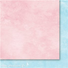 Papier scrapbooking  1 face nuage rose 1 face nuage bleu