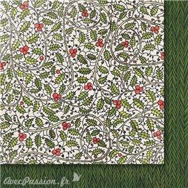 Papier scrapbooking  2 faces décor en harmonie vert Conte de Noël