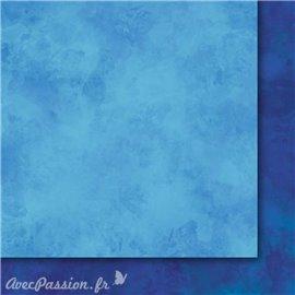 Papier scrapbooking   faux uni nuageux bleu
