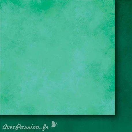 Papier scrapbooking   faux uni nuageux vert Arc en ciel II