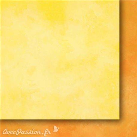 Papier scrapbooking   faux uni nuageux jaune orange Arc en ciel II