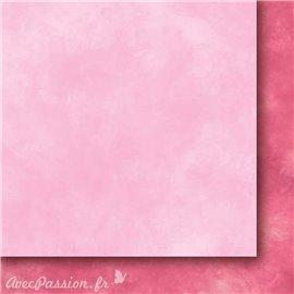 Papier scrapbooking   faux uni nuageux rose Arc en ciel II