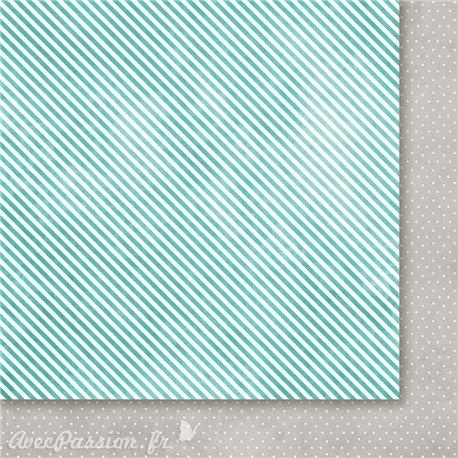 Papier scrapbooking  1 face rayé 1 face pois turquoise Avant l'hiver