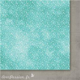 Papier scrapbooking  1 face étoiles 1 face géométrie turquoise gris Avant l'hiver