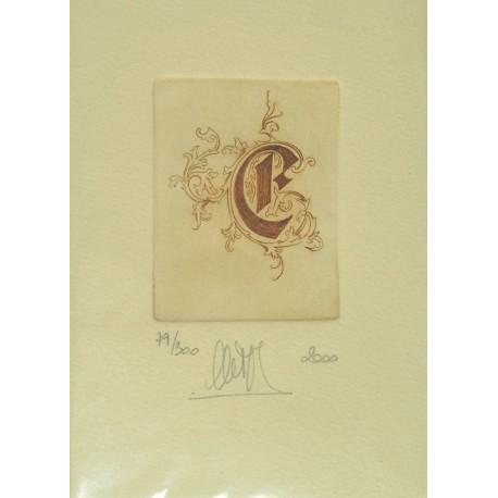 Gravure Caroline Delépine taille douce lettre E