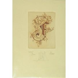 Gravure Caroline Delépine taille douce lettre F