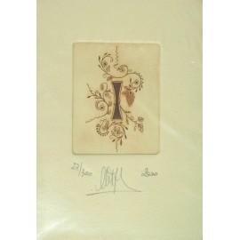Gravure Caroline Delépine taille douce lettre I
