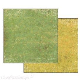 Papier scrapbooking pastel jaune vert Stamperia 30x30 réversible