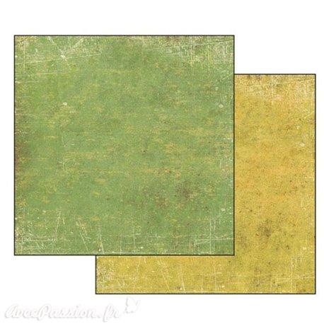 Papier scrapbooking réversible Stamperia pastel jaune vert 30x30