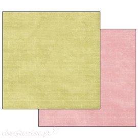 Papier scrapbooking texture vert rose Stamperia 30x30 réversible