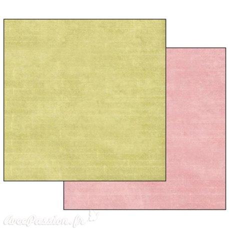 Papier scrapbooking réversible Stamperia texture vert rose 30x30