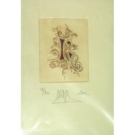 Gravure Caroline Delépine taille douce lettre K