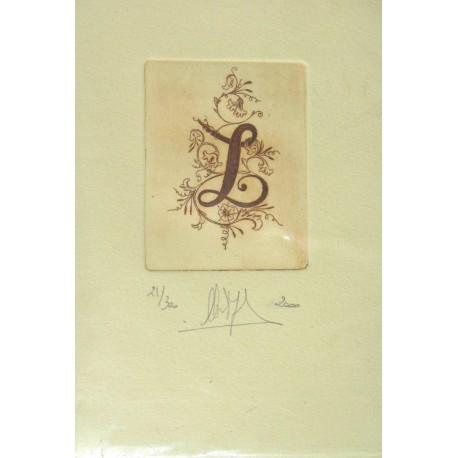 Gravure Caroline Delépine taille douce lettre L