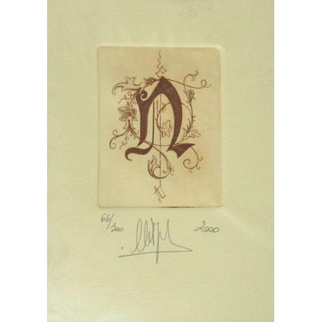 Gravure Caroline Delépine taille douce lettre N
