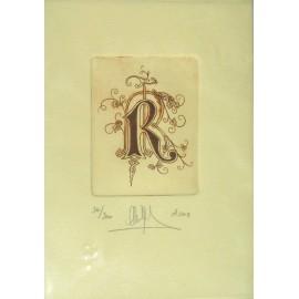 Gravure Caroline Delépine taille douce lettre R